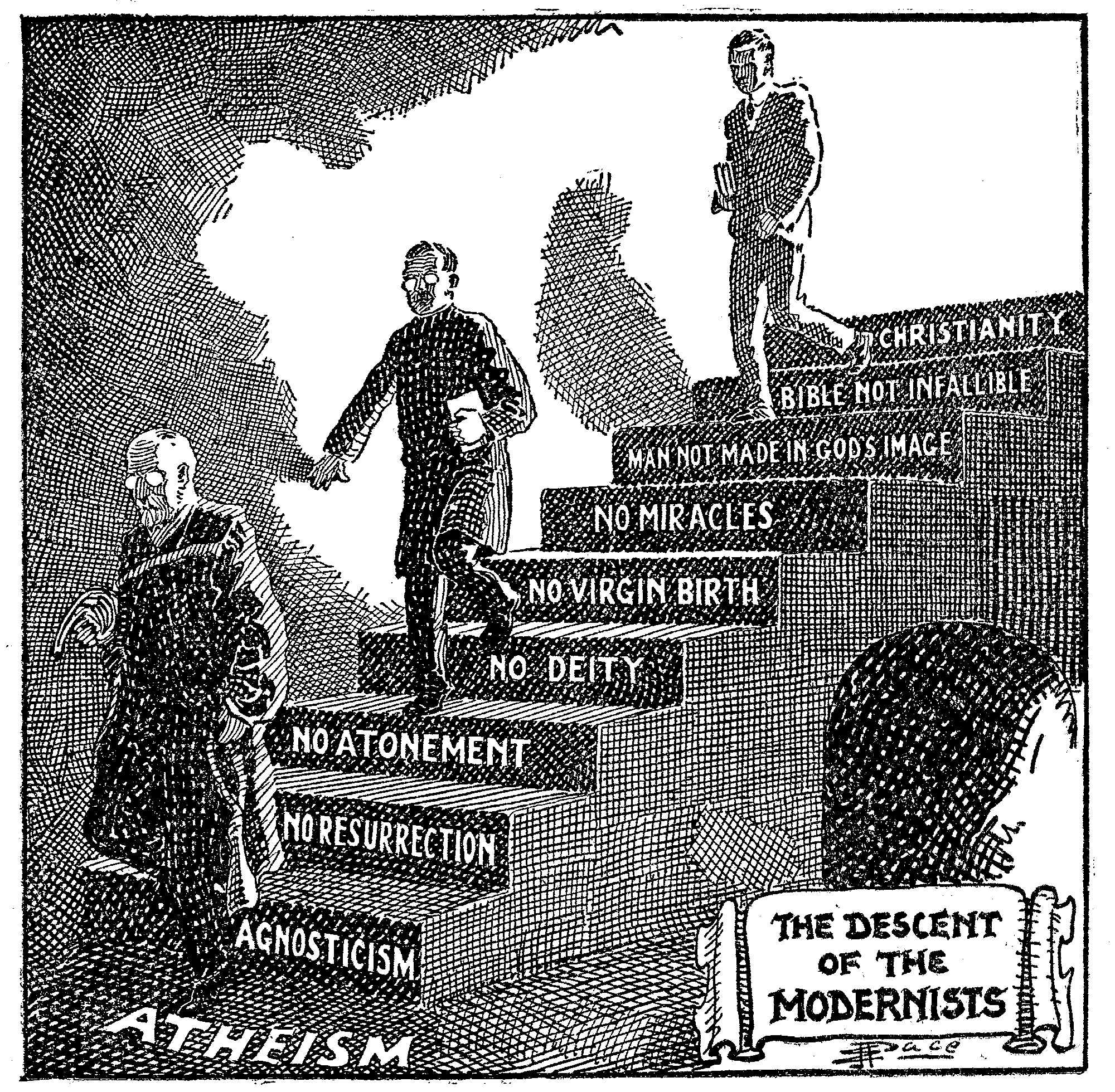 Descent of the Modernists E. J. Pace Christian Cartoons 1922